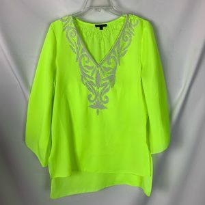 Alberto Makali Neon Green White Beaded Tunic Swim